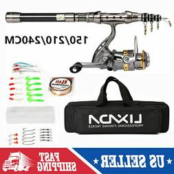 2020 Telescopic Fishing Rod Spinning Reel Combo Full Kit +10