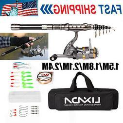 1.5-2.4M Lixada Telescopic Fishing Rod Reel Combo Full Kit S