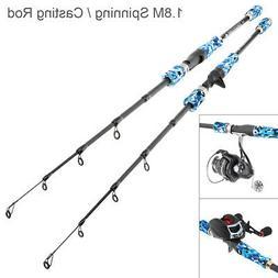 1.8M Fiber Fishing Rod Freshwater Travel Spinning /Casting L
