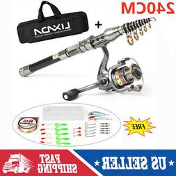 2.4M Lixada Telescopic Fishing Rod Reel Combo Full Kit Spinn