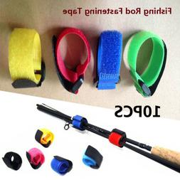 10 Pcs Reusable Fishing Rod Ties Holder Strap Fastener Ties