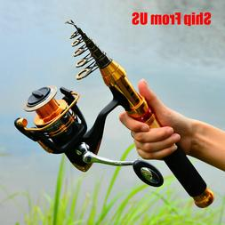 1x Fishing Rod Combos Kits with Telescopic Pole Spinning Ree