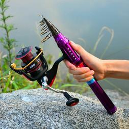 1x Telescopic Fishing Rod Reel Combo Kit Spinning Reel Set w