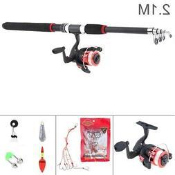 2.1m Telescopic Fishing Rod Reel Line Combo Full Kit Spinnin