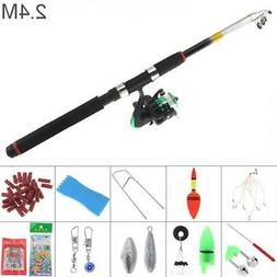 2.4m Fishing Rod and Reel Combo Full Kits Spinning Reel Gear