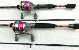 2 Each Zebco 33 Ladies Reel With 33 Pink Camo 6' 2 Piece R