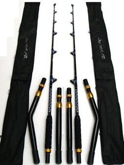 "2 NEW Big Game Fishing Rod 50/80lb Class EGlass 6'6"" w Strai"