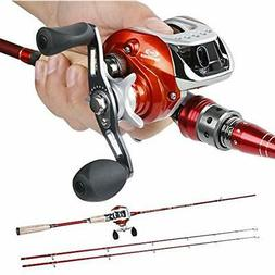 2-Piece Rod & Reel Combos Baitcasting Fishing With Left/Righ