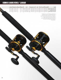 2 Penn Squall Lever Drag Conventional Fishing Reel Rod Combo