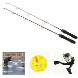 "26""+24"" Flat Tip Rod+Spinning Reel Ice Fishing Combo Kit +Ho"