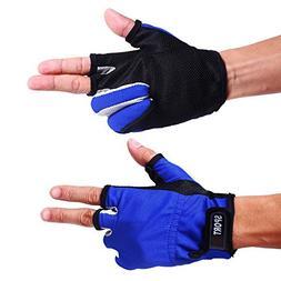 Sougayilang 3 Low-Cut Fingers Skidproof Fishing Gloves Anti