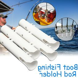"4x White Plastic Fishing Boat Rod Holders 12"" Boat Marine Tu"