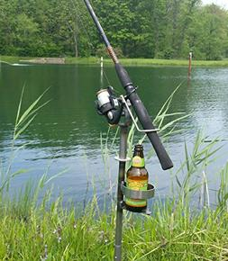 Adjustable Swivel Fishing Rod / Pole Stand with Cup Holder-