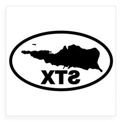 CafePress - St. Croix STX Map Oval Sticker - Square Bumper S