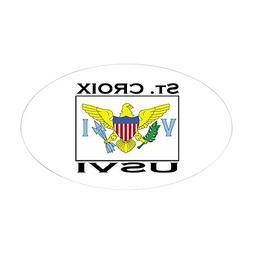CafePress - St. Croix, USVI Flag Oval Sticker - Oval Bumper