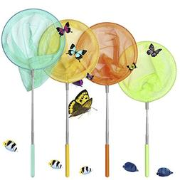 GeMoor 4 Pack Telescopic Butterfly Nets - Great for Catching