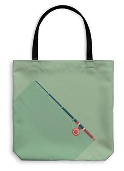 Gear New Shoulder Tote Hand Bag, Fishing Rod Flat Square Ico