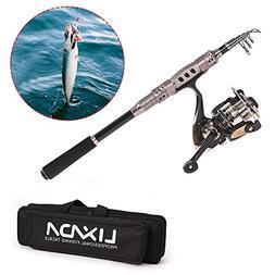 Lixada Fishing Rod and Reel Combo Full Kit Carbon Fiber Fish