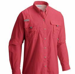 Columbia Men's Bahama II Long Sleeve Shirt, Sunset Red, Larg