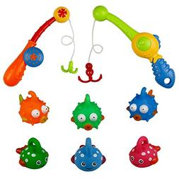 Bath Toys Fishing Game with 6 Cute Fish and 2 Fishing pole T