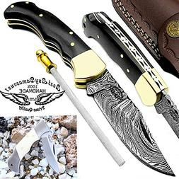 Pocket Knife 6.5'' Buffalo Horn Damascus Steel Knife Brass B