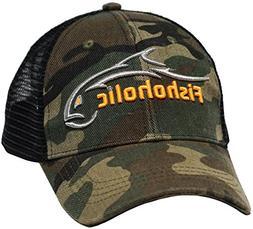 Fishoholic Camo Baseball Fishing Hat ~ 6 Colors & 3 Sizes. A