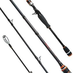 Entsport 1-Piece Carbon Bass Fishing Rod Fast Action Casting