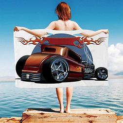 iPrint Cars Quick Dry Plush Microfiber  Cartoon-Hot-Rod-Anti