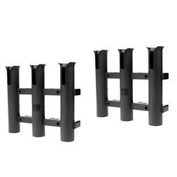 MagiDeal 2 Pieces Durable Black Triple 3 Rod Pole Rack Verti