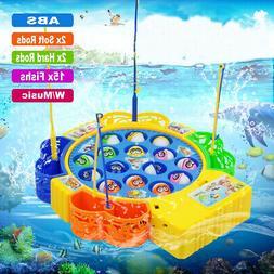 Educational Children Electric Rotating Fish Fishing Rod Game