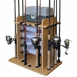 Fishing 14 Rod Holder Organiser Wood Pole Gear Equipment Sto