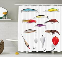 Ambesonne Fishing Decor Shower Curtain by, Netting Materials