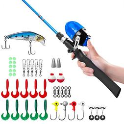 PLUSINNO Kids Fishing Pole,Telescopic Fishing Rod and Reel C