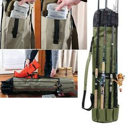 Fishing Pole Rod Case Portable Outdoor Tackle Reel Storage O