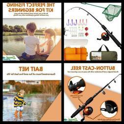 Lanaak Kids Fishing Pole and Tackle Box - with Net, Travel B