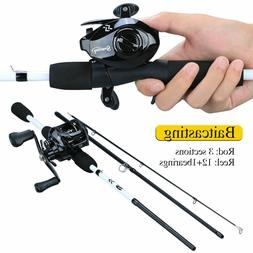 Fishing Rod 3 Section 1.75m Combo Carbon 12 1BB Bait Casting