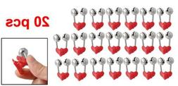 TOOGOO 20 Pcs Fishing Rod Alarm Dual Alert Bells Red Silver