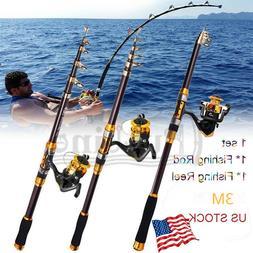 Fishing Rod & Reel Telescopic Portable Saltwater Freshwater