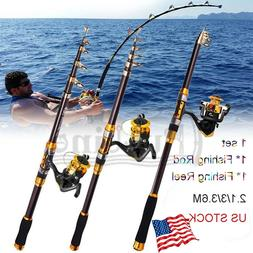 Fishing Rod & Reel Telescopic Portable Saltwater Freshwater