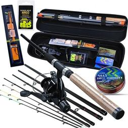 Fishing Rod Combo 6 Sections Feeder Carp Reel with Line Lure