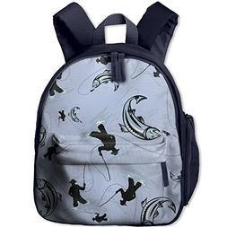 Fishing Rod Fish Kids Toddler School Book Bag Rucksack For B