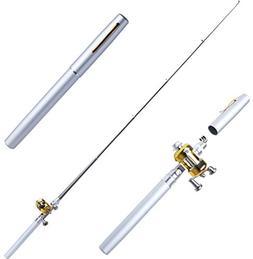 OAKBaby Fishing Rod Mini Portable Pocket Aluminum Alloy Fish