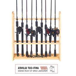 FISHINGSIR Fishing Rod Rack - 18 Wood Rod Holder Pole Stand