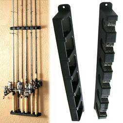 Fishing Rod Rack Vertical Pole Holder Wall Stand Rods Equipm