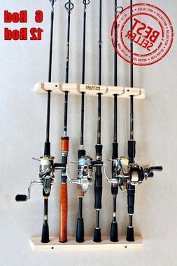 Fishing Rod Racks 6 or 12 Storage Easy Wall Handmade Wood Sp