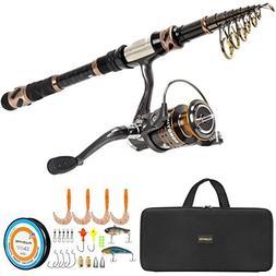 PLUSINNO Fishing Rod and Reel Combos -24 Ton Carbon Fiber Te