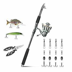 ROSE KULI Fishing Rod and Reel Combos - Portable Collapsible