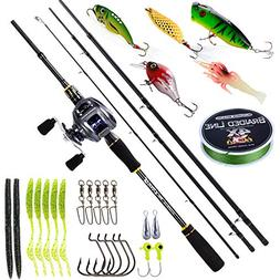 BURNING SHARK Fishing Rod and Reel Combos,4 Piece Ultra Ligh