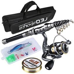 Fishing Rod and Reel Combos FULL Kit, Travel Spinning Telesc