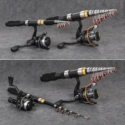 Fishing Rod Telescopic Pole Spinning Carbon Fiber Travel Por